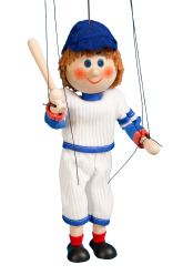 Baseball player - wooden puppet