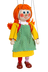 Girl with plaits - wooden puppet